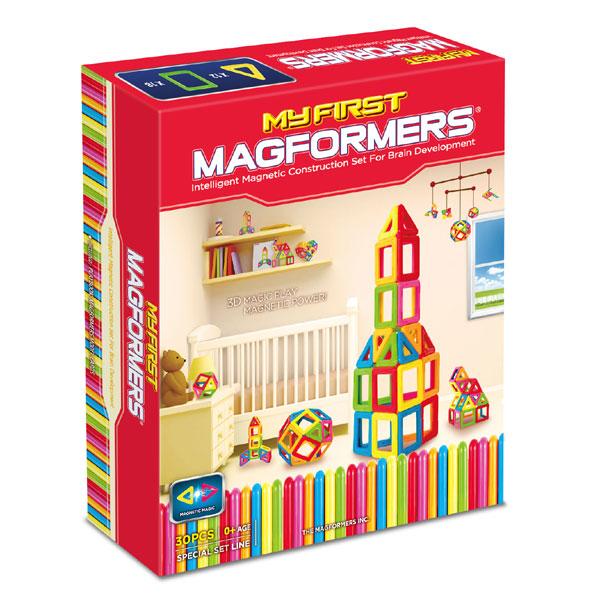 Магнитный конструктор MAGFORMERS 702001(63107) My First Magforme - В набор входит: - 12 треугольников; - 18 квадратов; - карточки с идеями построек; - учебное пособие.