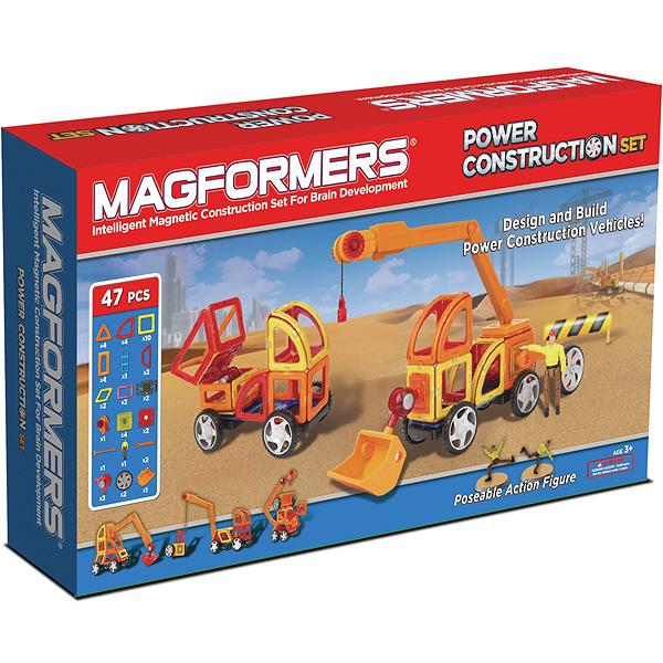Магнитный конструктор MAGFORMERS 707002 Power Construction Set - В комплект входит 47 деталей.