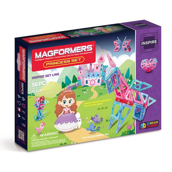 Магнитный конструктор MAGFORMERS 63134 Princess Set - Набор включает 56 деталей: - 16 магнитных треугольников - 13 магнитных квадратов - 6 магнитных ромба - 6 магнитных равнобедренных треугольников - 7 магнитных прямоугольников - 2 магнитных шестиугольника - 1 блок-подсветка - 1 светорассеивающая пир