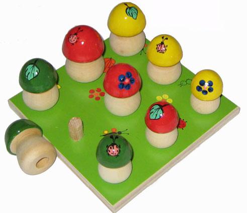 Грибы на полянке 9 шт. вкл. основу (дерево) - Уникальное развивающее пособие для детей разных возрастов.