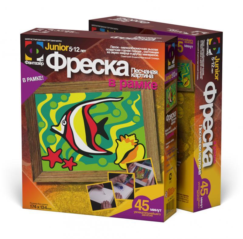 Фреска из песка Тропическая рыбка - Состав набора:  пластиковая форма, кисточка, краска черная, кварцевый песок цветной, клей, двусторонний скотч, инструкция.