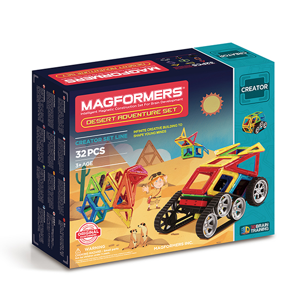 Магнитный конструктор MAGFORMERS 703010 Adventure Desert 32 set - Набор Magformers Desert Adventure содержит 32 элемента:  ●треугольник: 8 шт. ●равнобедренный треугольник: 3 шт. ●прямоугольный равнобедренный треугольник: 2 шт. ●квадрат: 7 шт. ●прямоугольник: 1 шт. ●ромб: 6 шт. ●клик-колес: 2 шт. ●новые