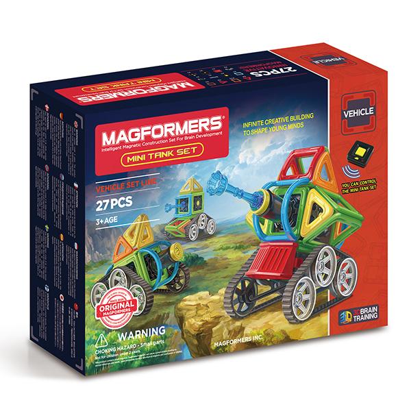 Магнитный конструктор MAGFORMERS 707010 Mini Tank Set - Набор Magformers Mini Tank содержит 27 элементов:  ●треугольник: 4 шт. ●квадрат: 10 шт. ●мини-сектор: 2 шт. ●арка: 2 шт. ●мини-арка: 1 шт. ●новые гусеничные колеса: 2 шт. ●бампер: 1 шт. ●коннектор: 1 шт. ●моторный блок: 1 шт. ●поршень