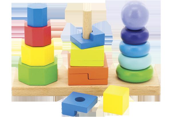 Пирамидки 3 в 1 (дерево) - Развивающие пирамидки знакомят ребенка с цветами и формами.
