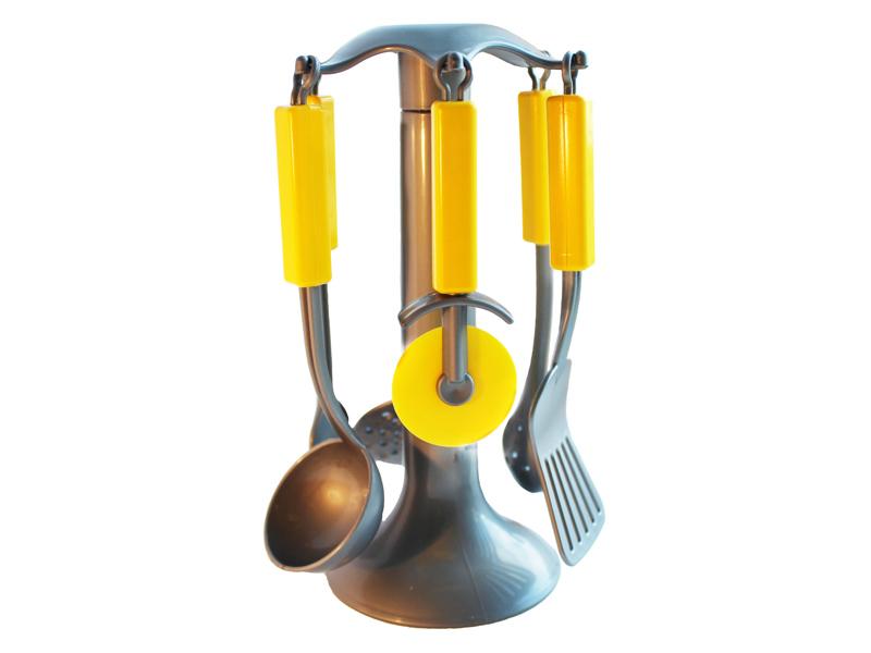 Совтехстром.Кухонные приборы в сетке арт.У543 - Размеры (см): 21*13  шумовка, половник, лапшеловка, лопатка, пицца-нож, лопатка для соуса, подставка