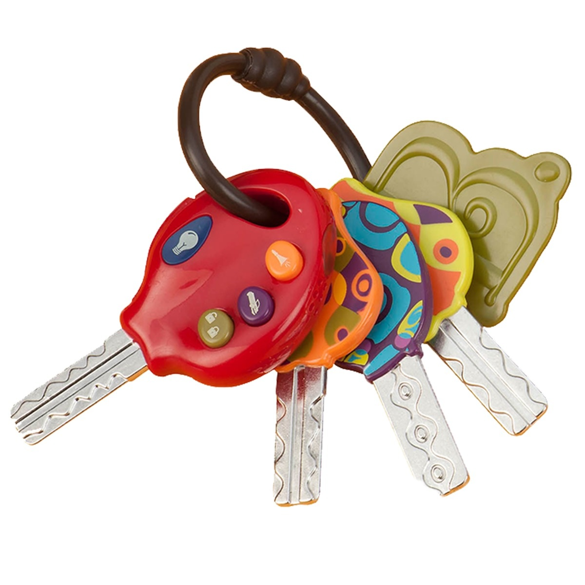 Набор ключиков - Набор электронных ключиков игрушка детская развивающая выполнен из разнофактурного разноцветного пластика и пищевой нержавеющей стали, на колечке подвеске, выглядят словно настоящие. Детская развивающая игрушка от 6-ти месяцев с кнопочками на одном ключе: