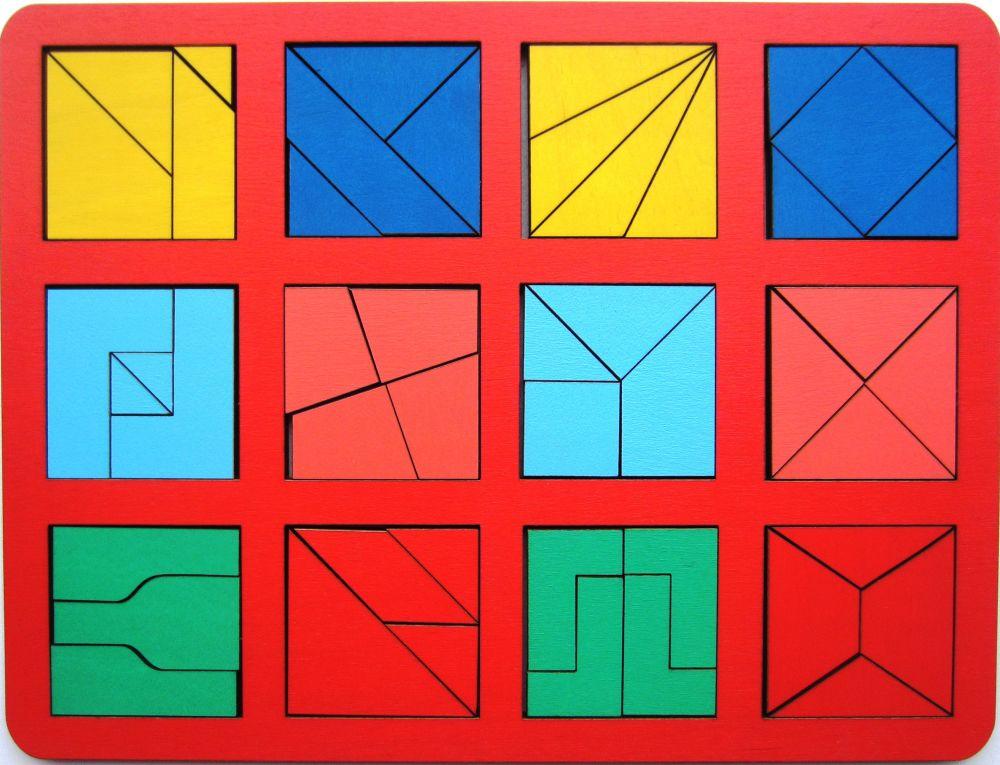 Собери квадрат 3 уровень сложности макси - Материал - крашеная фанера (6мм)