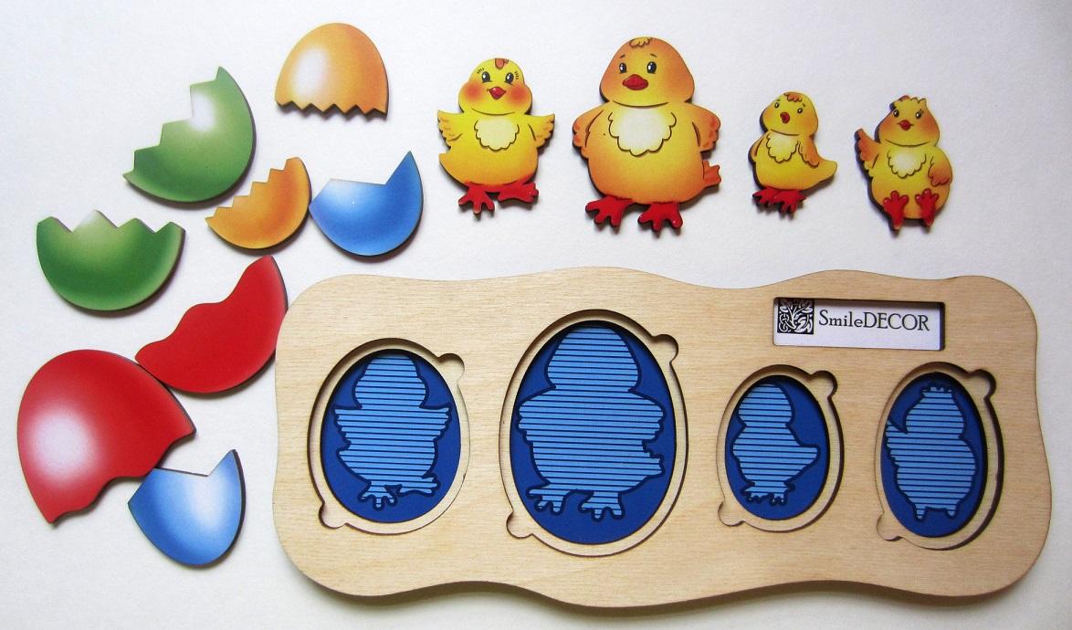 Цыплята - ребята - Размер: 24 см*10 см* 1 см Материал: фанера, бумага