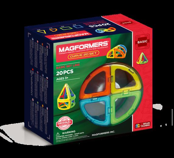 Магнитный конструктор MAGFORMERS 701010 Curve 20 - Набор «Magformers Curve 20 Set» содержит 20 элементов: * квадрат 4 шт. * сектор 8 шт. * арка 4 шт. * сегмент конуса 4 шт.
