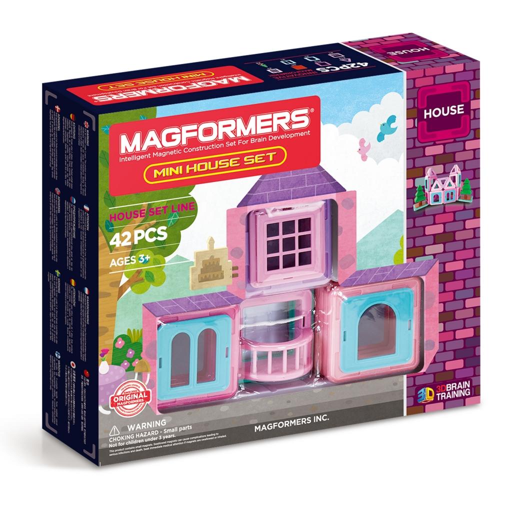 Магнитный конструктор MAGFORMERS 705005 Mini House Set 42 - Набор «Magformers Mini House Set» содержит 42 элемента:  треугольник 12 шт. квадрат 18 шт. балкон 1 шт. двойное окно 1 шт. кирпичная стена 6 шт. одинарное окно 1 шт. оконная решетка 1 шт. дерево 2 шт.