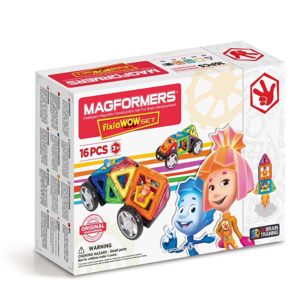 Магнитный конструктор MAGFORMERS 770001 Fixie Wow set - Набор «Magformers Fixie Wow Set» содержит 16 элементов:  треугольник 8 шт. квадрат 4 шт. фиксик Нолик 1 шт. фиксик Симка 1 шт. пара колес 2 шт.