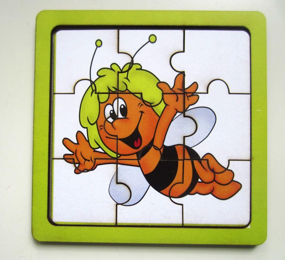 Пазл Пчелка - Количество элементов:  9 Размер: 14 см*14 см Материал: фанера, 3 мм