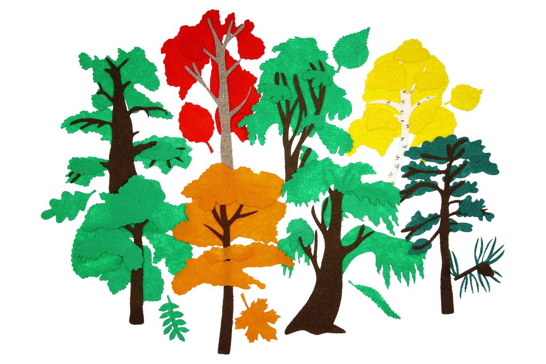 Городские деревья без игрового поля - Дуб, осина, береза, клен, сосна, ива, тополь, рябина 25*17см, к каждому дереву по 5 листочков 6*6см.