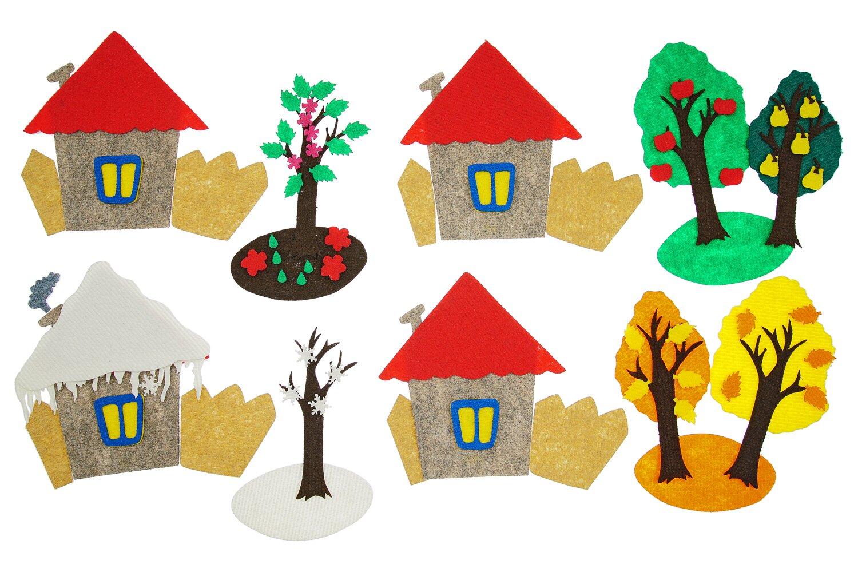Четыре домика маленькие с игровым полем - Состав:Домик 17*15см 4шт, забор, дерево-2 шт., цветочки-10 шт., листики-10 шт., яблочки-10 шт., солнце, туча-3 шт., капли-10 шт., кроны деревьев-4 шт., снежная шапка от 1*1см до 12*12см;