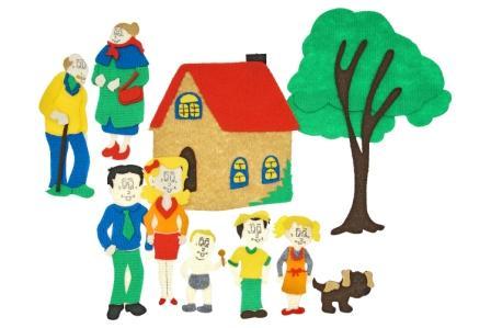 Семья с игровым полем - Игровое поле, мальчик, девочка, младенец, мама, папа, дедушка, бабушка, дом, дерево, собака