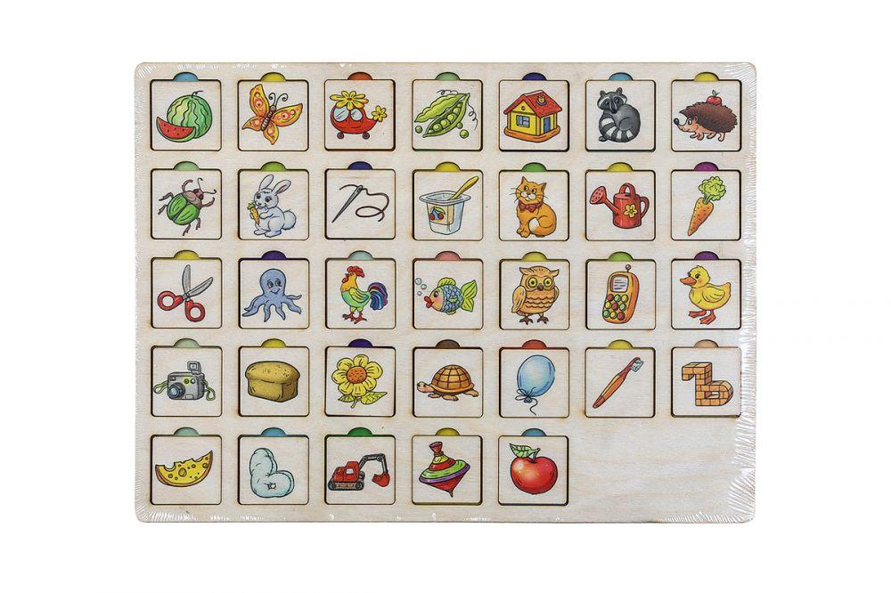 Секретики Алфавит - Материал: фанера Размер планшета: 22 см*30 см Размер плашек с картинками: 3,2 см* 3,2 см