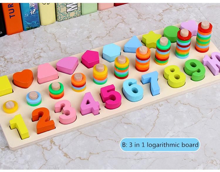 Сортер-счеты «Учим фигуры, цвета и цифры» - 30х15х8см, диаметр 2,5см, цифры 4,5см