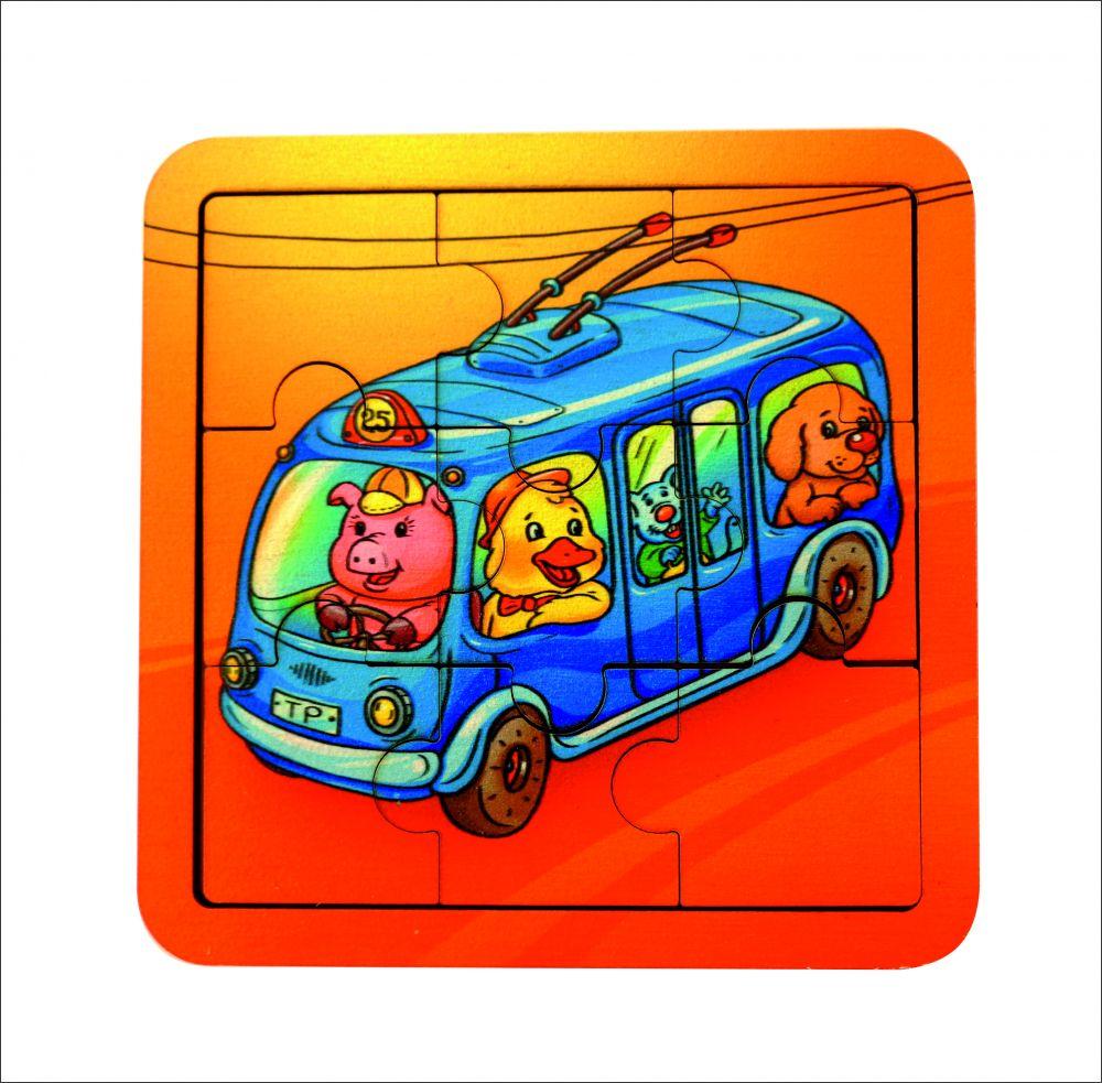 Пазл Троллейбус - Количество элементов:  9 Размер: 14 см*14 см Материал: фанера, 3 мм