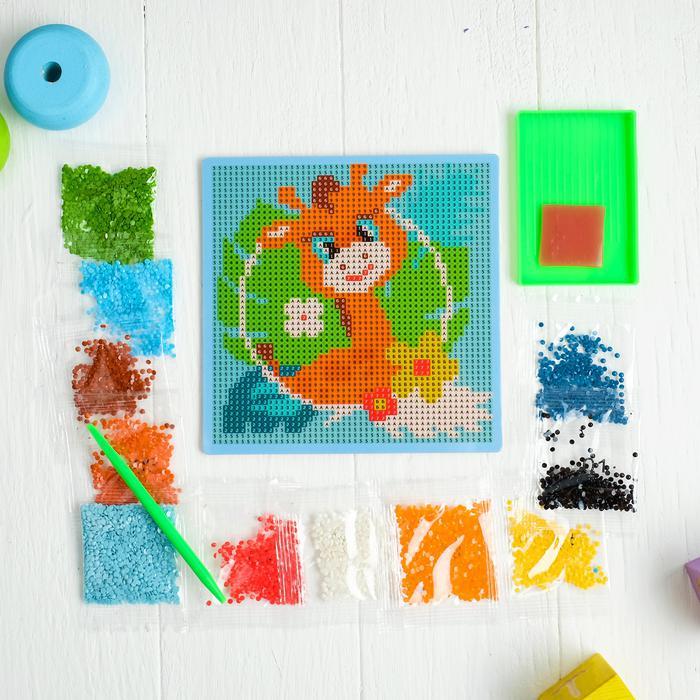 Алмазная мозаика для детей «Жираф», 15 х 15 см. - Создание мозаики поможет ребенку развить мелкую моторику, зрительное восприятие, усидчивость, аккуратность, внимательность и художественный вкус.