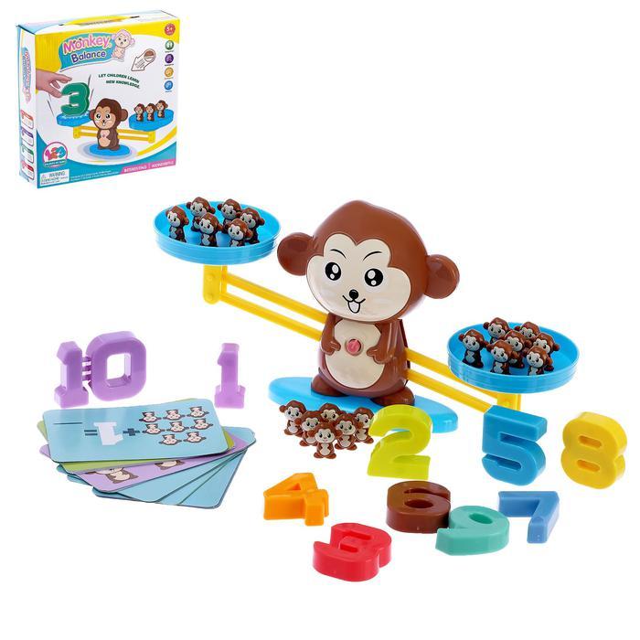 Обучающие весы «Обезьянка»: цифры, фигурки - Комплектация цифры (от 1 до 10) — 4,5 × 1,5 × 5 см; 19 обезьянок — 2,5 × 1 × 3 см; 30 карточек (тонкий картон) — 13 × 9 см.