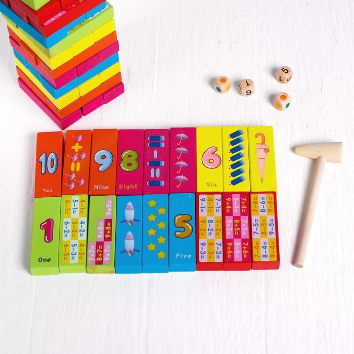Игра настольная «Дженга + учимся считать» - Размер плашки: 7.5 × 2.5 × 1.5 см.  Размер башни: 7.5 × 7.5 × 27 см.